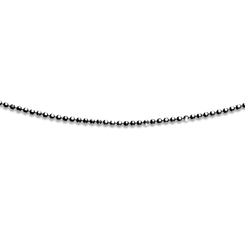 Geschliffene Kugelkette Black rhodium schwarz 925er Silber, versch. Längen