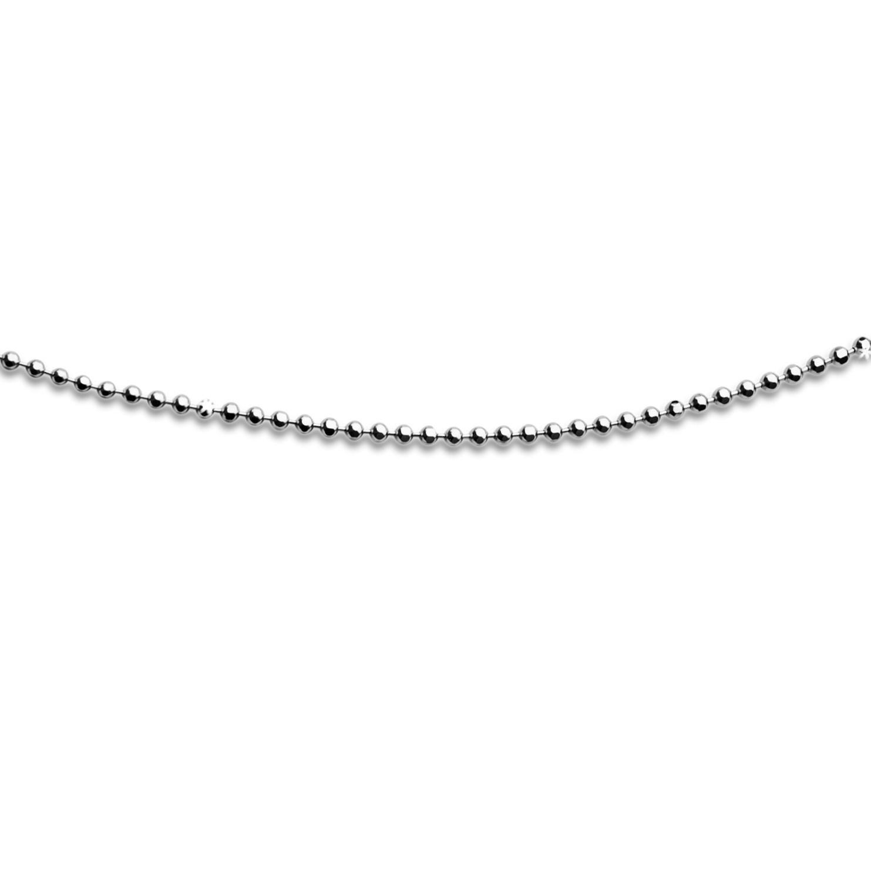 Geschliffene Kugelkette aus rhodiniertem 925er Silber, versch. Längen