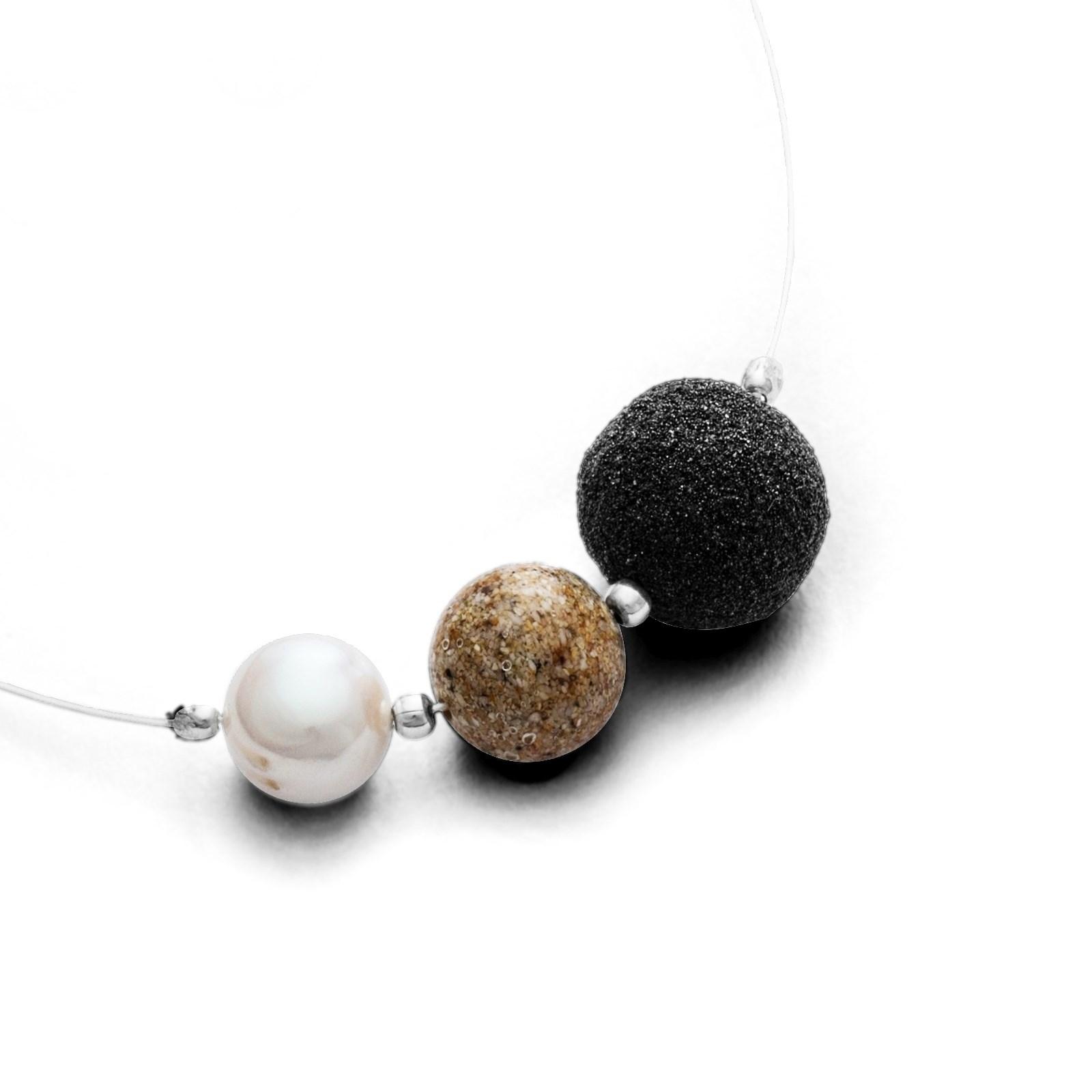 Feiner Kettenreif Treibsand mit Lavasand-, Strandsandkugel und Perle 925er Silber