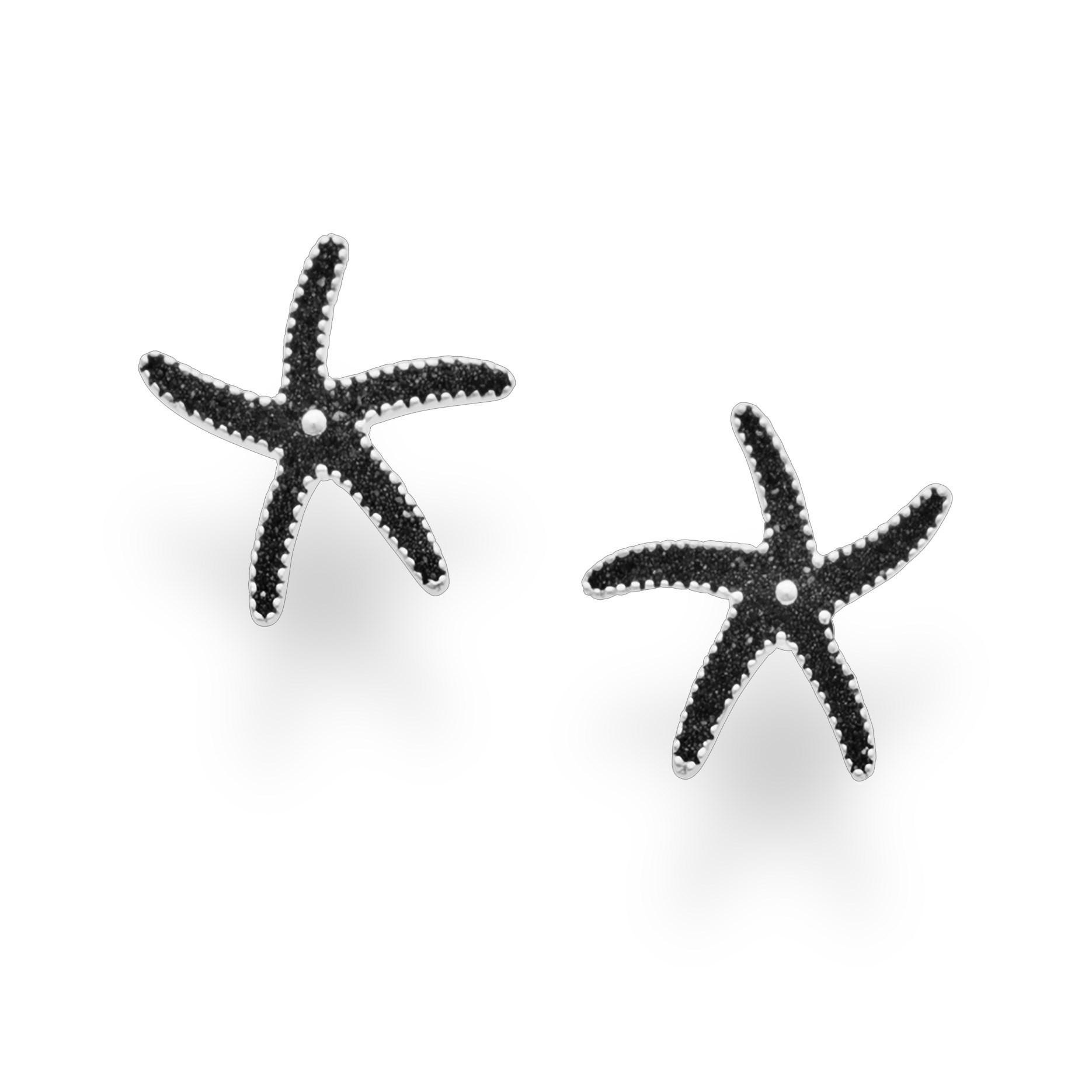 Ohrstecker Seestern aus Lavasand schwarz rhodiniert