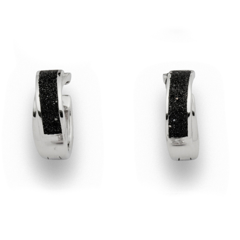 Ohrring Creole Lavasand schwarz 925er Silber