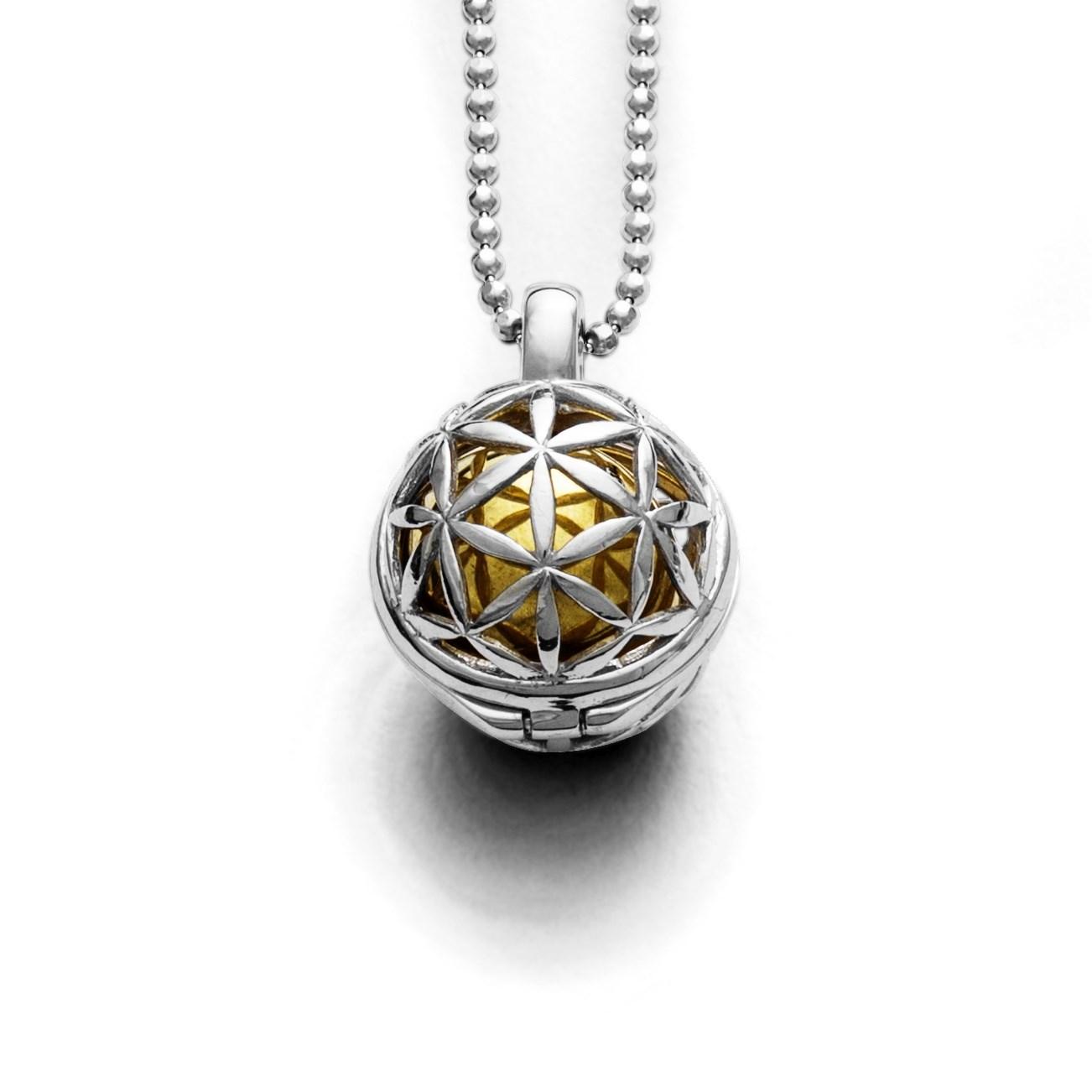 Klangspiel Blume des Lebens rhodinert 925er Silber
