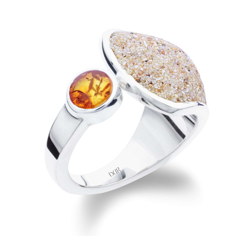 Ring Strandsand mit Bernstein 925er Silber