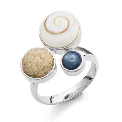 Ring Strand und Meer mit rundem Strandsand Meeresauge und Kyanit blau 925er Silber