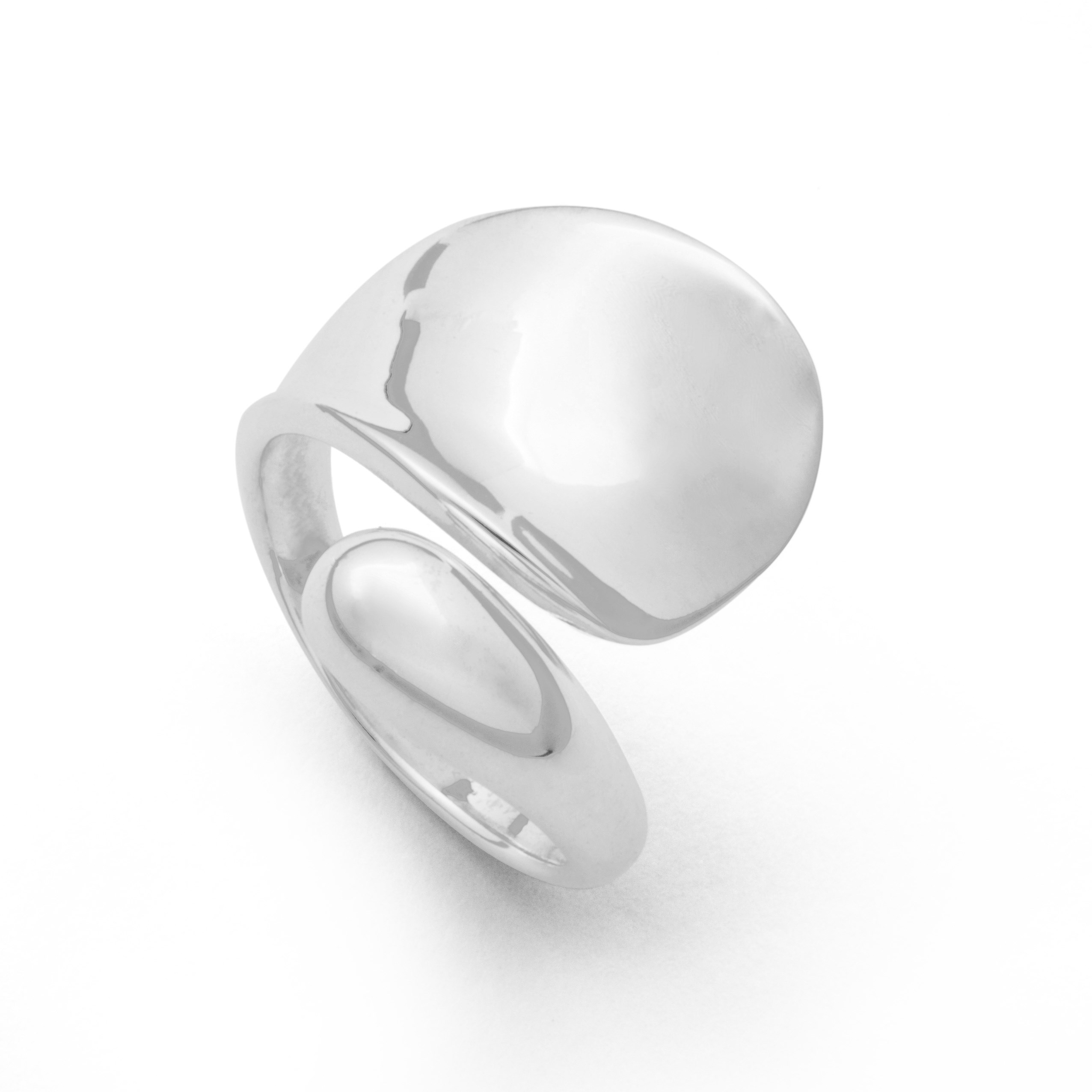 Ring Wellenschlag großflächig poliert aus 925er Silber