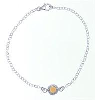 Armband m. Mondst. orange ca. 18 cm 925er Silber