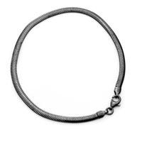 Armband Schlange flach, ruthen. 21 cm 925erSilber
