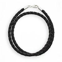 Kunstlederkette geflochten schwarz Verschluss 925er Silber, versch. Längen