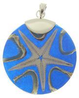 """Anhänger""""Seestern"""" blau rund 925er Silber"""