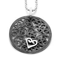 """Anhänger """"Heartbeat"""" rund oxidiert 925er Silber"""