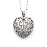 Anhänger Herzklopfen gefüllt mit Perlmutt Herzform rhodiniert 925er Silber