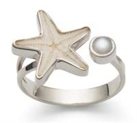 Ring mit Seestern und Perle 925er Silber