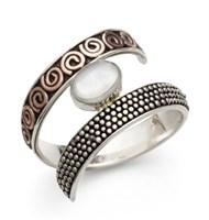 "Ring ""Ku-Si/Perlmutt"" oxi. 925er Silber"