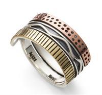 "Ring ""Messing-Silber-Kupfer"" oxi./br. 925er Silber"