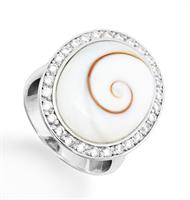 Ring Meeresauge/Zirkon rd. 925er Silber