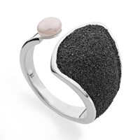 """Ring """"Fuego"""" mit Lavasand/Perle 925er Silber"""