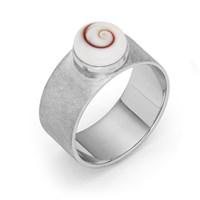 Ring Meeresauge rhodiniert gebürstet 925er Silber
