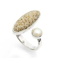 """Ring """"Sandperle"""" Strandsand/Perle 925er Silber"""