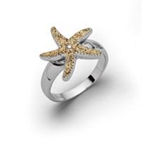 """Ring """"Seestern"""" Sand rhodiniert 925er Silber"""