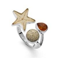 Ring Strandrausch mit Seestern Sandstrand und Bernstein 925er Silber