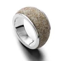 Ring Strandsand mit sich verjüngender Schiene 925er Silber