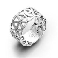 Ring Blume des Lebens gebürstet rhodiniert 925er Silber