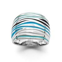 Ring Ocean emaillierte Wellen blau schwarz weiß 925er Silber