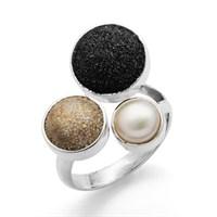 Ring Strandsand /Lavasand / Perle 925er Silber