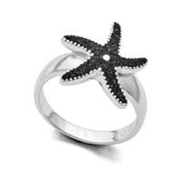 "Ring ""Seestern"" Lavasand rhodiniert 925er Silber"