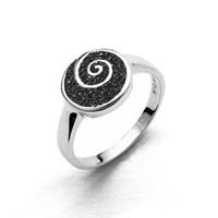 Ring Lavasand/'Spirale rhodiniert 925er Silber