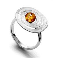 Ring Lavasturm aus gewickeltem 925er Silber mit Bernsteinkugel schwarz