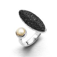 Ring Lavasand Ellipse mit Perle rund 925er Silber