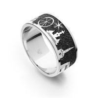 "Ring ""Erlangen"" Lavasand rhodiniert 925er Silber"