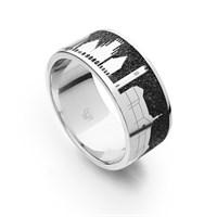"Ring ""Münster"" Lavasand rhodiniert 925er Silber"