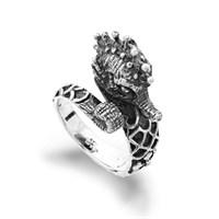 Ring Seepferd oxidiert 925er Silber