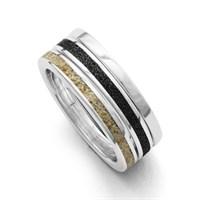 Ring Marina aus drei Ringen Silber Lavasand Strandsand 925er Silber