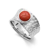 """Ring """"Feuerrot"""" Koralle rhodiniert 925er Silber"""
