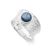 Ring Wasserblau Kyanit blau,gehämmerter Schiene Silber