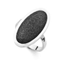 Ring Lavasand oval schwarz 925er Silber