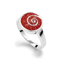 Ring Koralle/Spirale rhodiniert 925er Silber