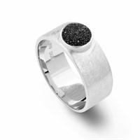 Bandring breit Lavasand schwarz gebürstet 925er Silber