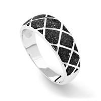 "Ring ""Raute"" Lavasand, rhodiniert 925er Silber"