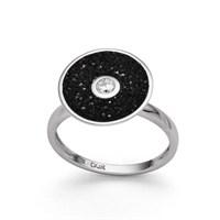 Ring Lavafunkeln rund schwarz mit Zirkonia 925er Silber