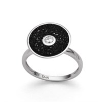 "Ring ""Lavasand/Zirkon"" rhodiniert 925er Silber"