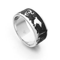 """Ring """"Borkum"""" III Lavasand rhodiniert 925erSilber"""
