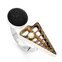 "Ring ""Spider/Perle/Lavasand"" 925er Silber"