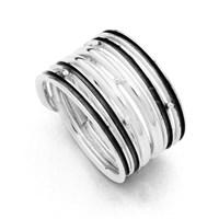 """Ring """"Strömung"""" silber/oxidiert 925er Silber"""