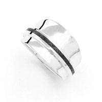 Ring poliert mit Kyanitstreifen grau 925er Silber
