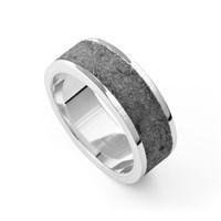 "Ring ""Steinsand"" grau, rhodiniert 925er Silber"