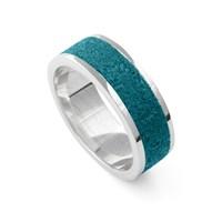 "Ring ""Steinsand""petrol blau, rhod.  925er Silber"
